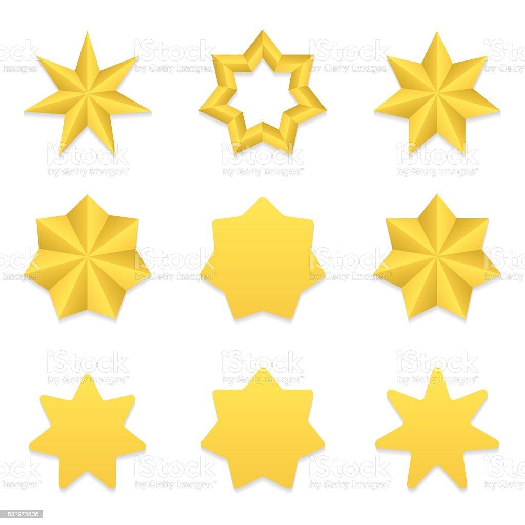 Seven poin stars collection vector art illustration