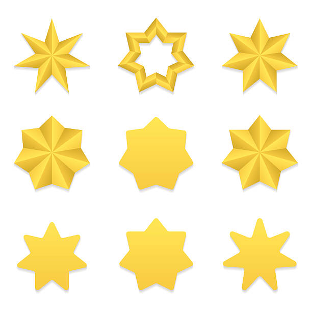 seven poin stars collection - acute angle stock illustrations