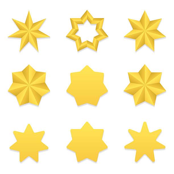 bildbanksillustrationer, clip art samt tecknat material och ikoner med seven poin stars collection - spetsig vinkel