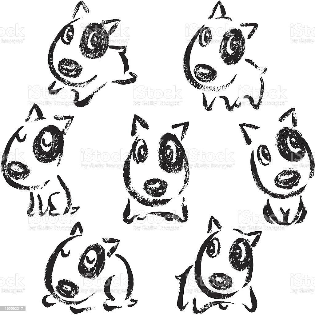 Seven poses of Bullterrier royalty-free stock vector art