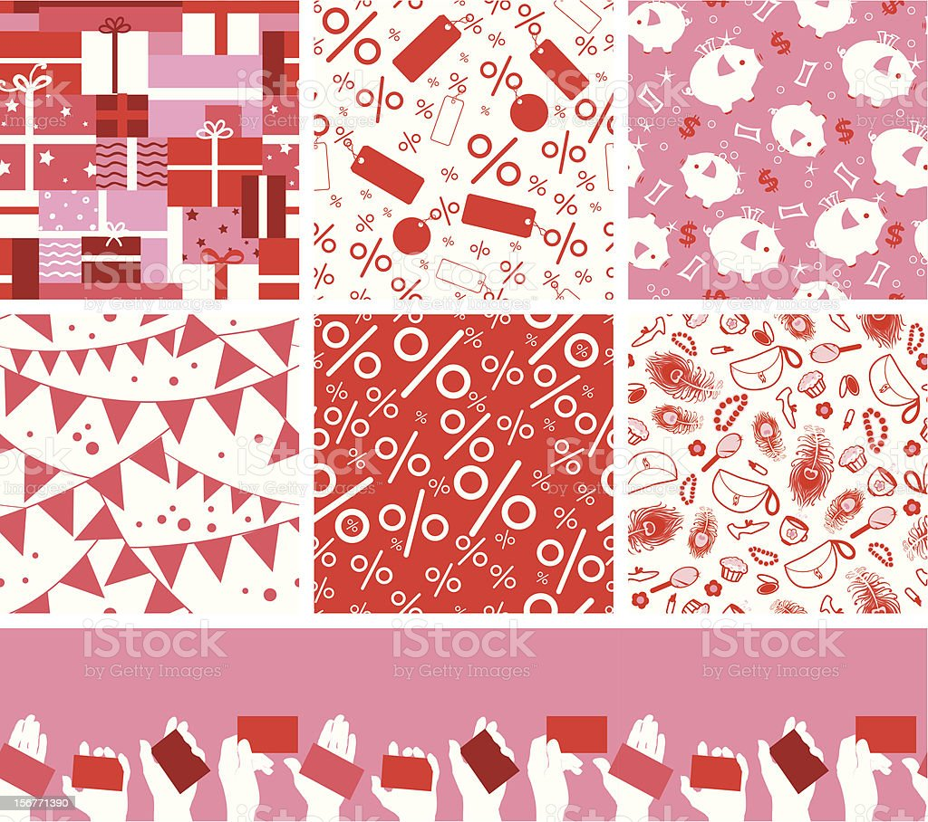 Seven shopping and sale seamless patterns set royalty-free stock vector art