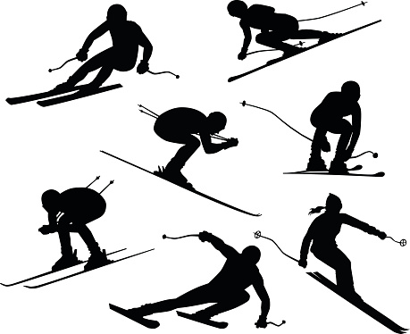 Seven Skiers Silhouettes