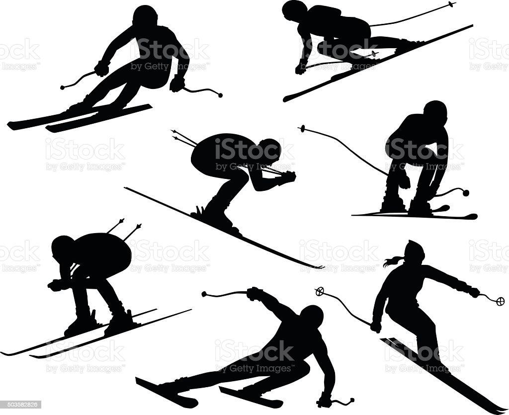 royalty free downhill skiing clip art vector images illustrations rh istockphoto com skating clipart free skiing clipart image