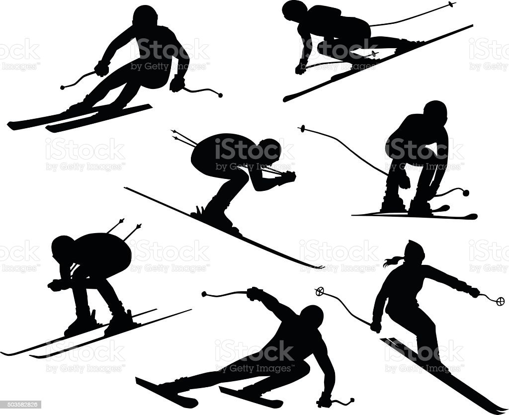 Seven Skiers Silhouettes vector art illustration