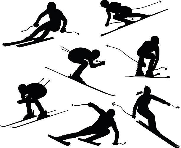 sieben skifahrer silhouetten - skifahren stock-grafiken, -clipart, -cartoons und -symbole