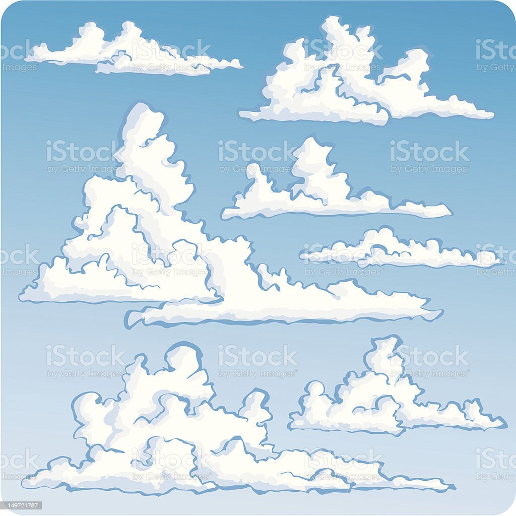 Seven Spiffy Clouds royalty-free seven spiffy clouds stock vector art & more images of blue