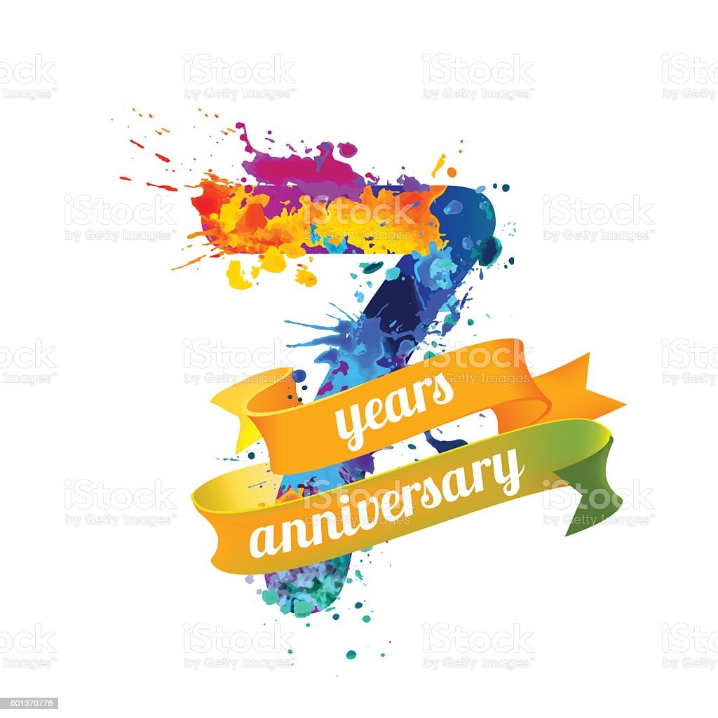 seven (7) years anniversary vector art illustration