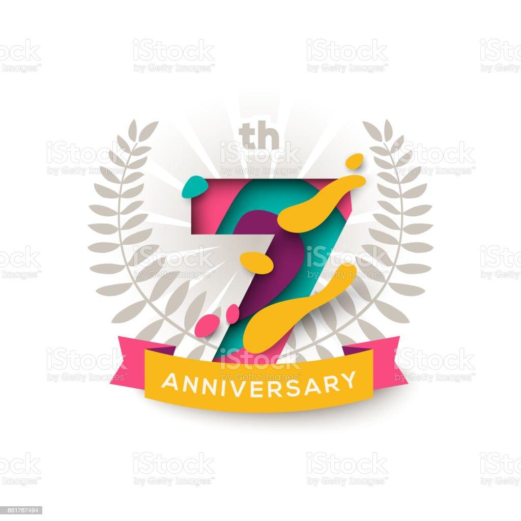 Seven years anniversary vector art illustration