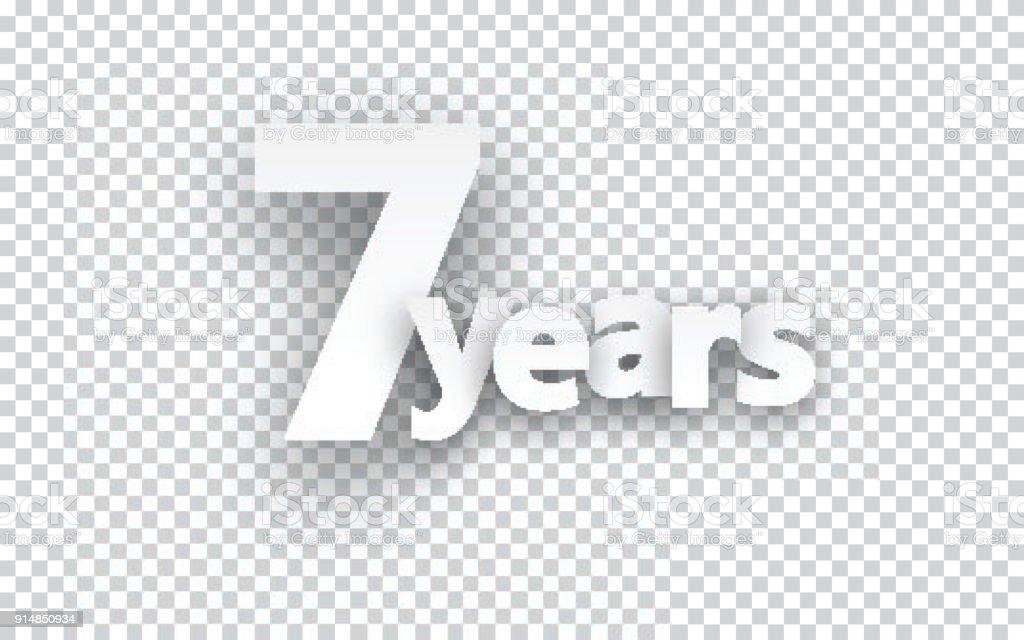 Seven years paper sign. vector art illustration