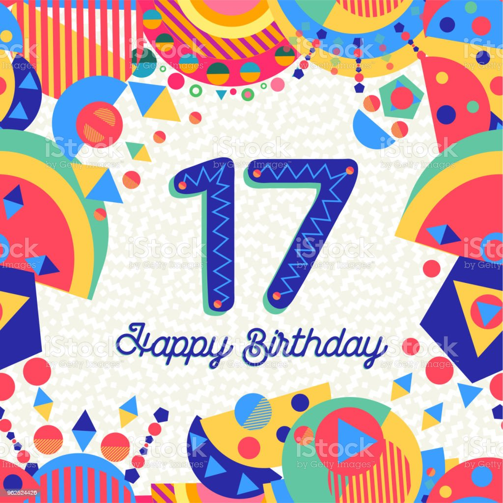 17 Verjaardag.Seventeen 17 Year Birthday Greeting Card Number Stock