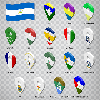 Seventeen flags the Provinces of Nicaragua  -  alphabetical order with name.  Set of 3d geolocation signs like flags Departments of Nicaragua.  Seventeen one 3d geolocation signs for your design. EPS10