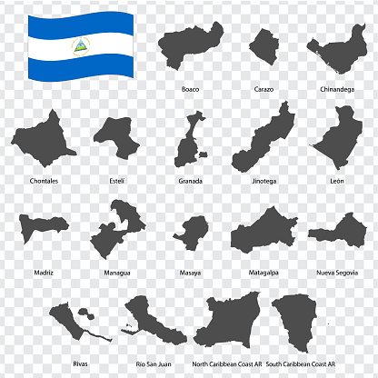 Seventeen Maps  of Nicaragua - alphabetical order with name. Every single map of Departments  are listed and isolated with wordings and titles. Republic of Nicaragua. EPS 10.