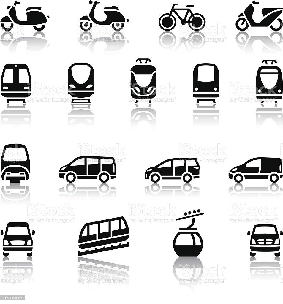 Seventeen - transport icons vector art illustration