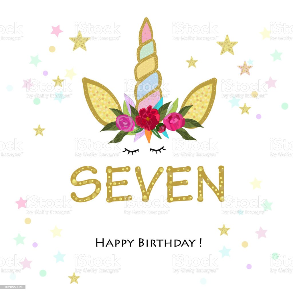 Seventh Birthday Candle Seven Unicorn Birthday Invitation