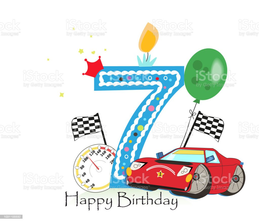 Seventh birthday greeting card. Red race car with birthday candle and balloon vector art illustration