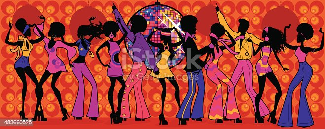 A group of people in seventies outfits at a disco. All characters on separate layers for easy editing. See below for a silhouetted version of this file.