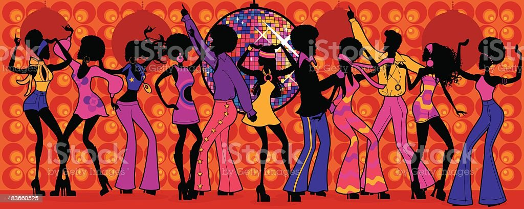 Seventies Disco Party vector art illustration