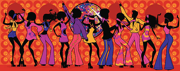 seventies disco party - 20th century stock illustrations