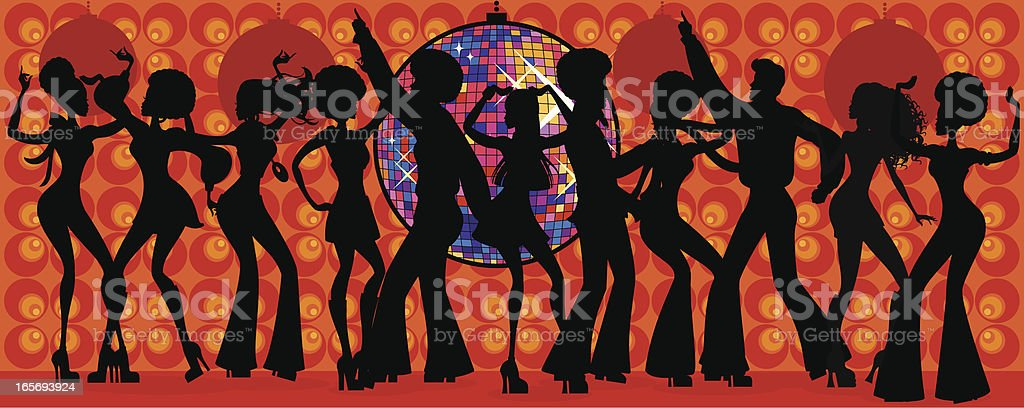 Seventies Disco Silhouette vector art illustration
