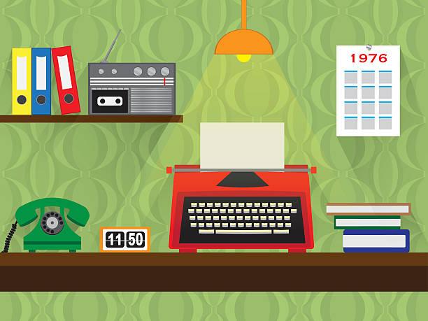 70 年代のレトロな作品に最適の古いタイプライター、ビンテージ壁紙を背景 ベクターアートイラスト