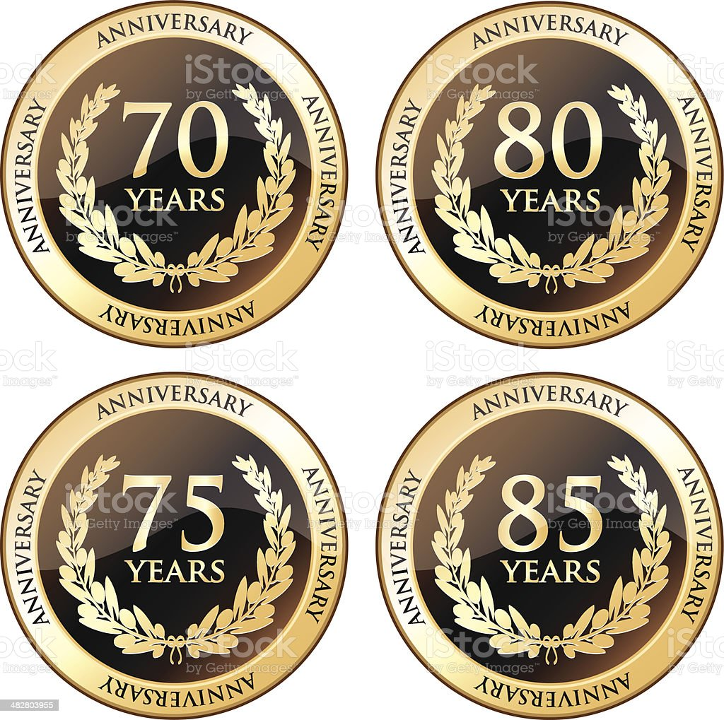 Seventieth And Eightieth Anniversary Awards vector art illustration
