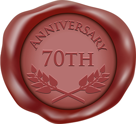 Seventieth anniversary red wax seal icon with a laurel wreath.