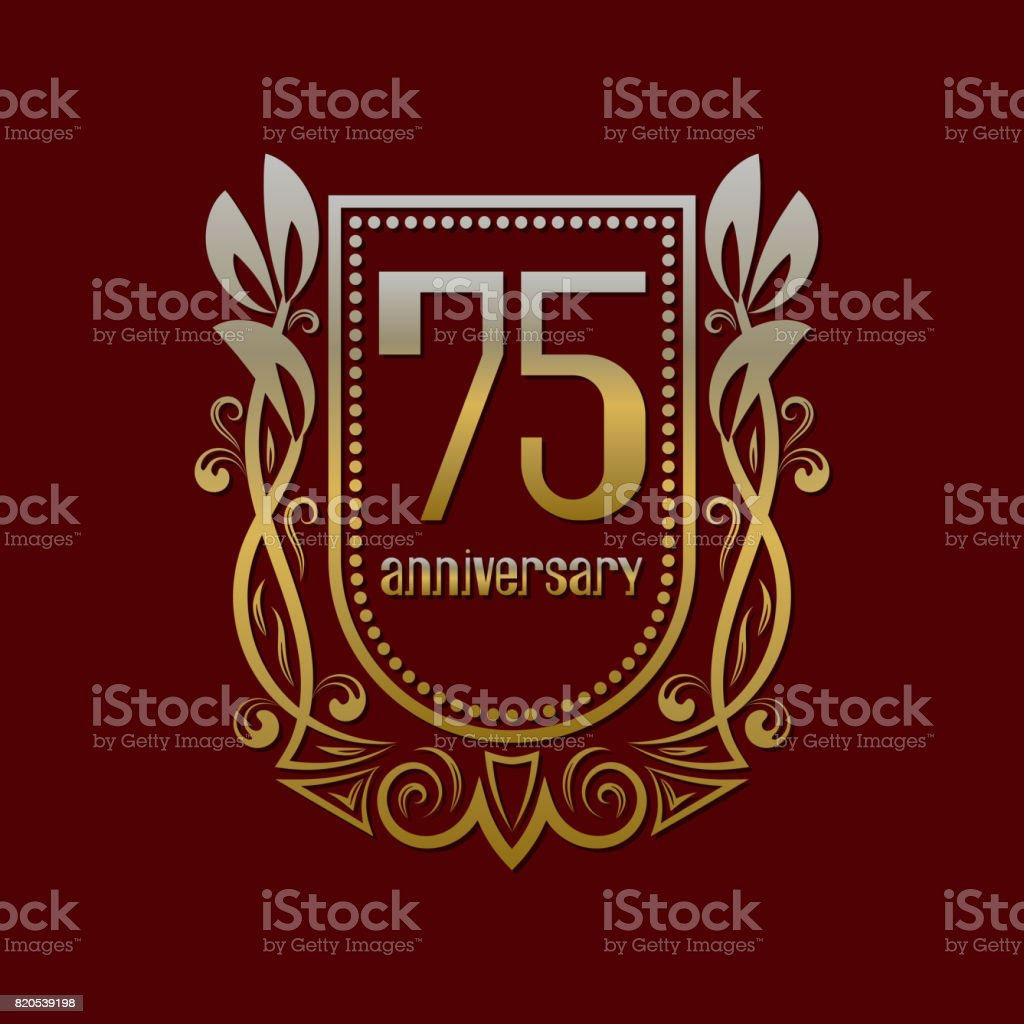Seventy Fifth Anniversary Vintage Symbol Golden Emblem With Numbers