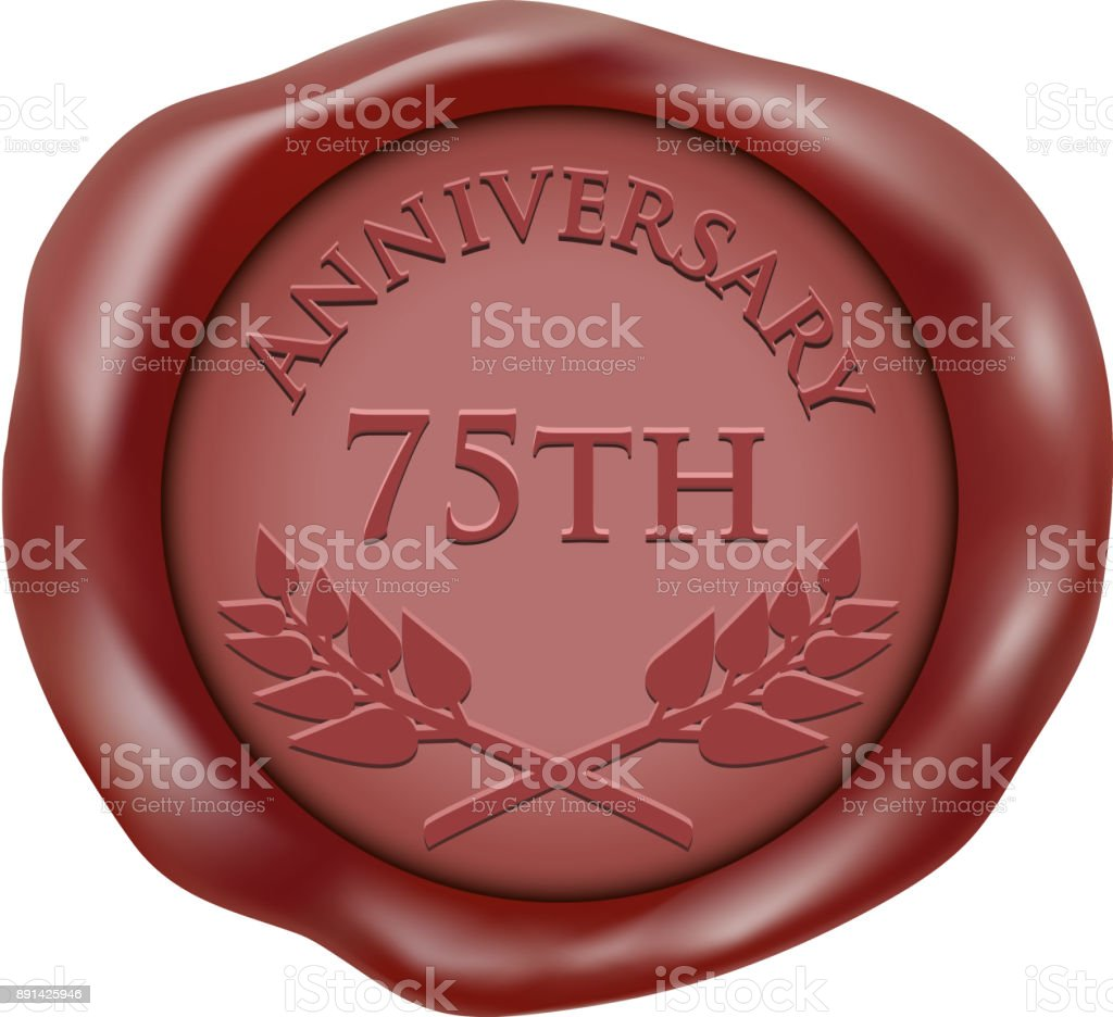 Seventy Fifth Anniversary Wax Seal Icon vector art illustration