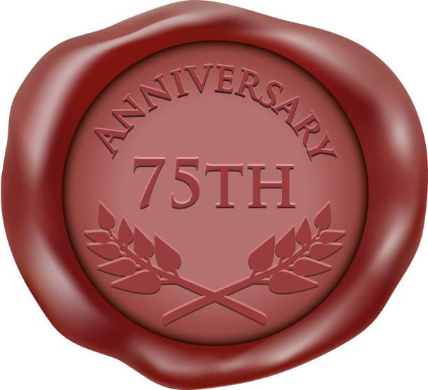 Seventy Fifth Anniversary Wax Seal Icon vector art illustration