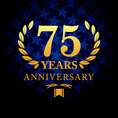 Vector of seventy five  years anniversary icon with blue color star shape background
