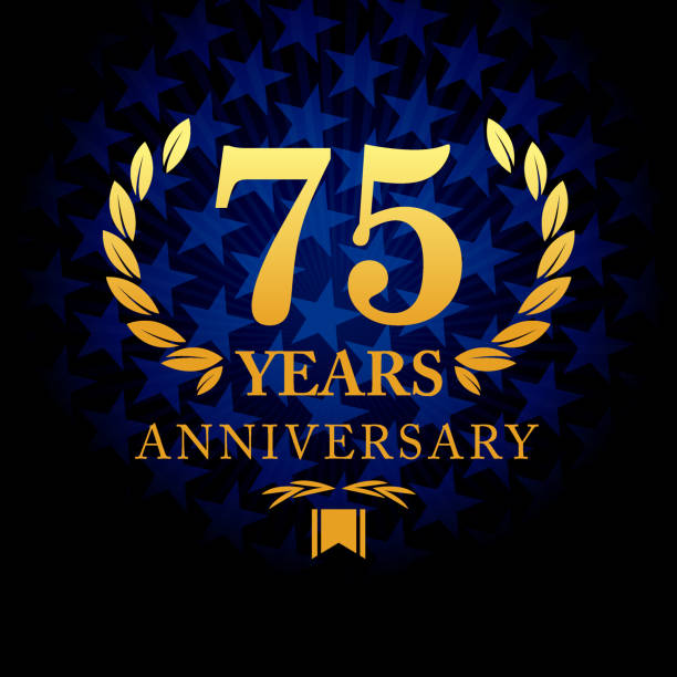 Seventy five year anniversary icon with blue color star shape background vector art illustration