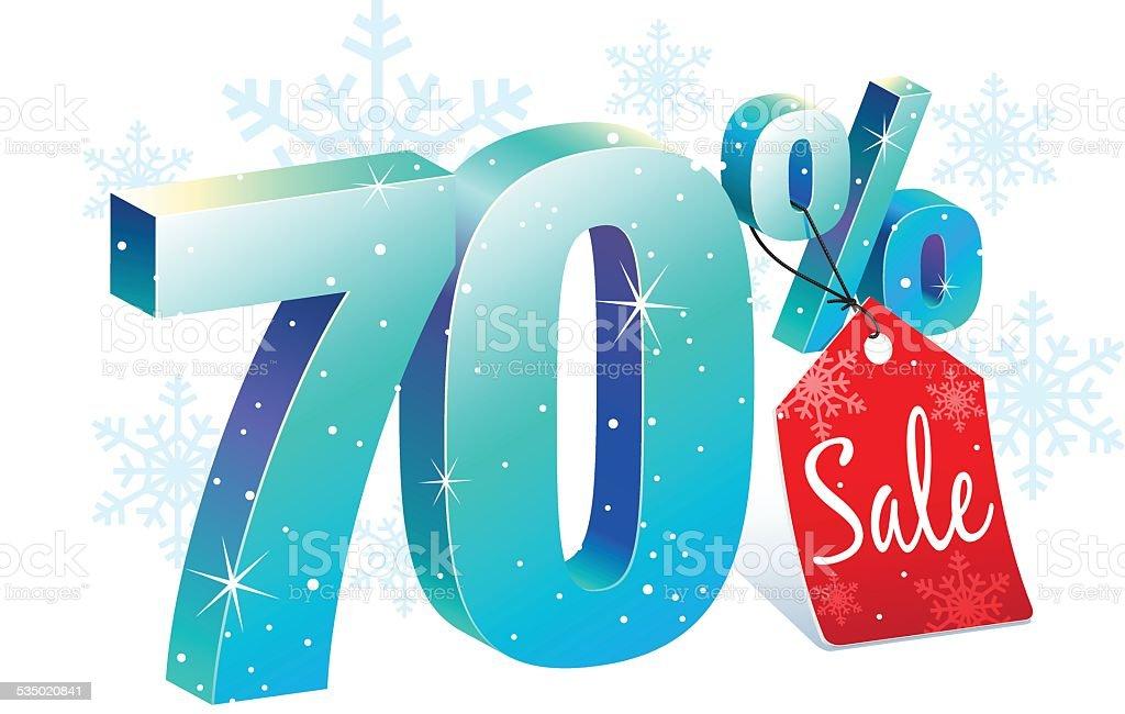 Seventy Percent Winter Sale Discount vector art illustration