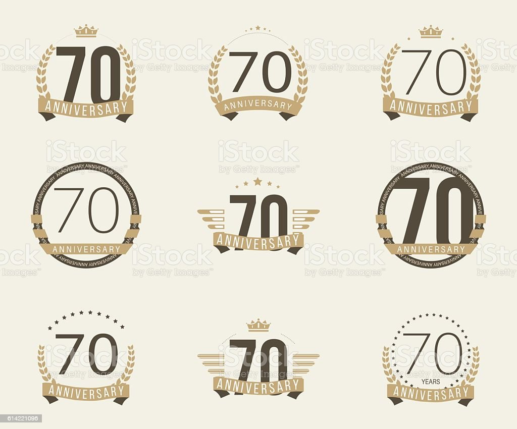 Seventy years anniversary celebration logotype collection 70th number 70 symbol anniversary banner sign birthday biocorpaavc