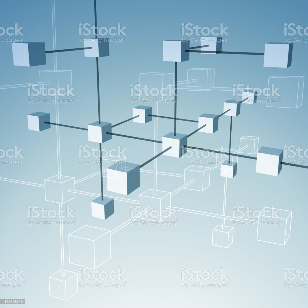 Several animated cubes connected showing a network vector art illustration