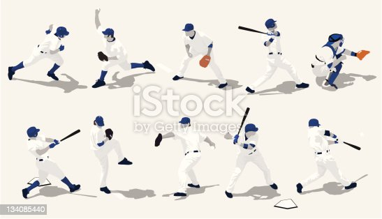 10 baseball players in action