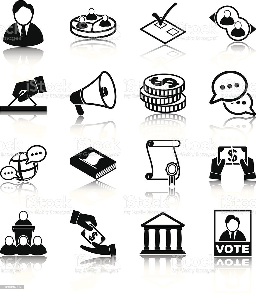 Several black ink icons that are about politics vector art illustration