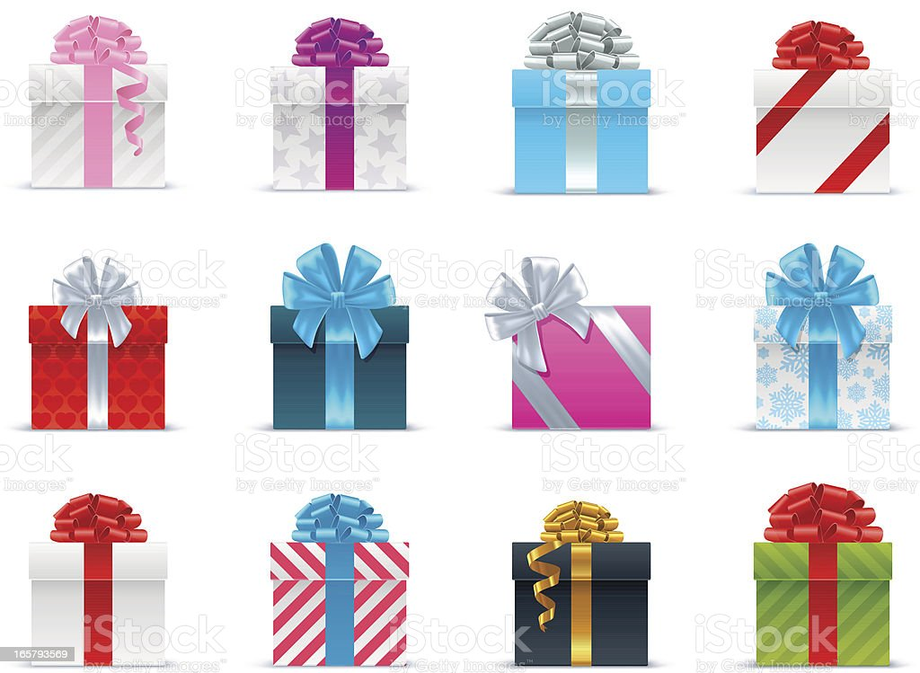 Several brightly wrapped gift boxes with ribbon Сollection of vector holiday gift boxes with ribbons. Abstract stock vector