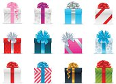 Several brightly wrapped gift boxes with ribbon