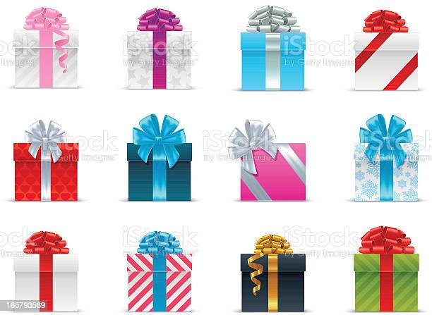 Several Brightly Wrapped Gift Boxes With Ribbon Stock Illustration - Download Image Now