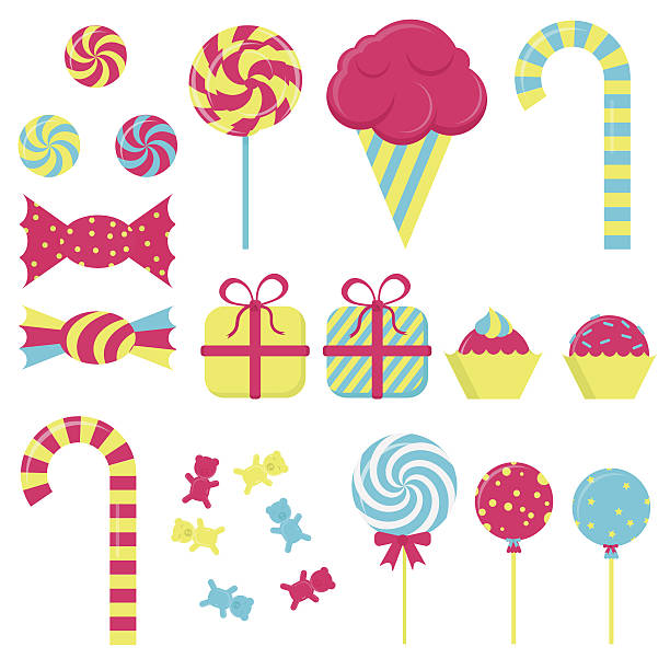 Several candies Several candies in white background. Lollipop, ice cream, stick candy, bubble gum, gift wrapping gum drop stock illustrations