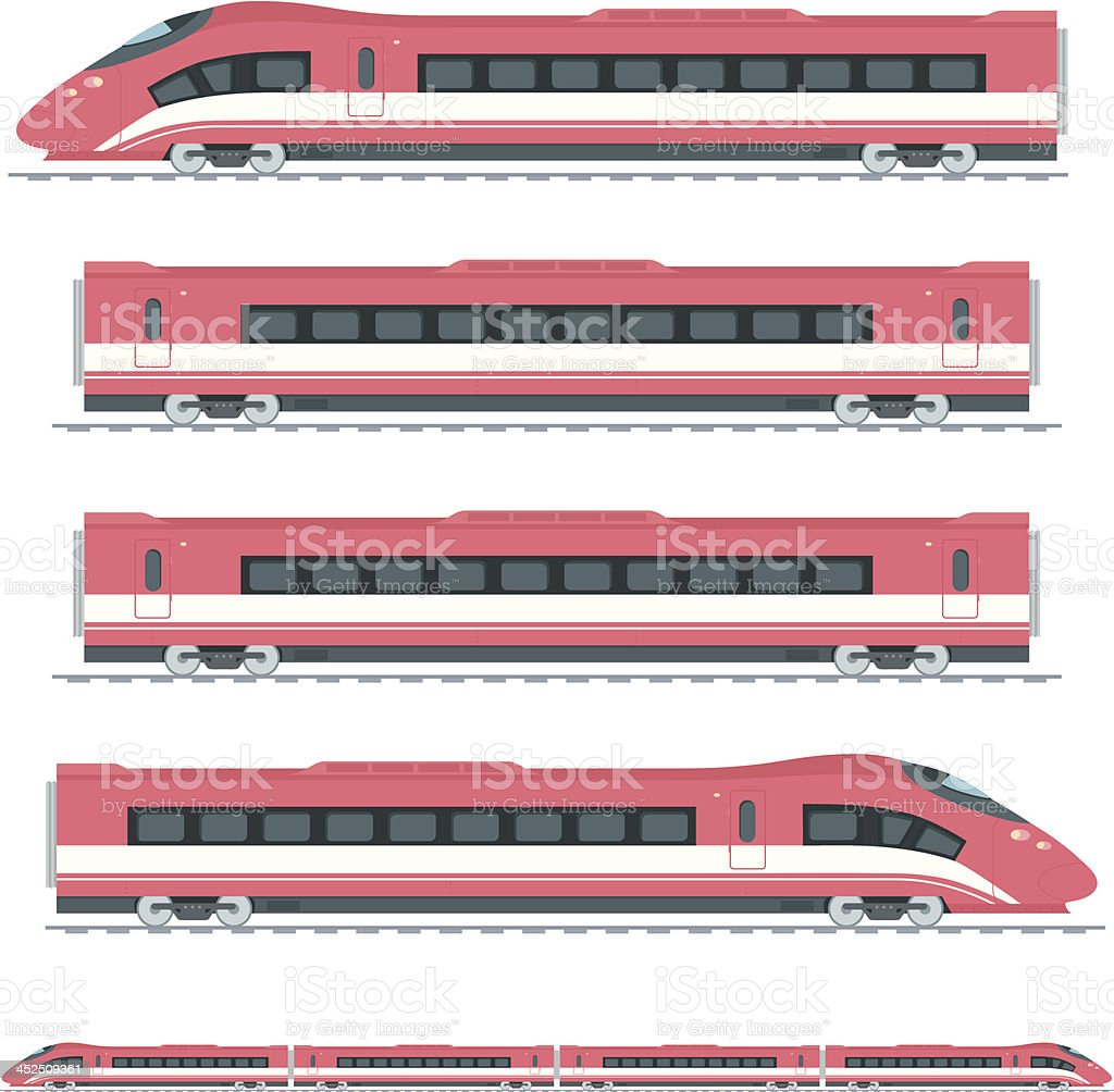 Several cartoon pictures of red high speed trains  vector art illustration