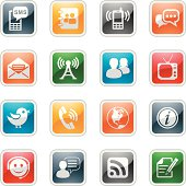 illustration of Communication icon series with 7 different colors for your design and products.