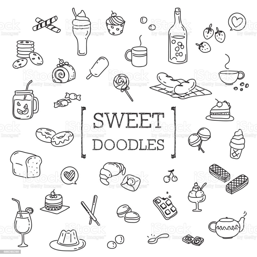 Several dessert doodles. vector art illustration