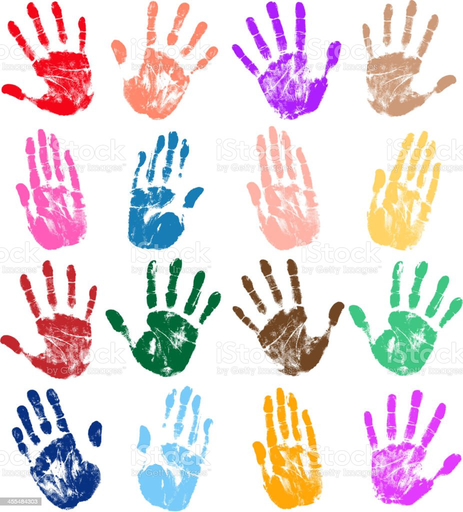 Several different colored handprints on a white background royalty-free stock vector art