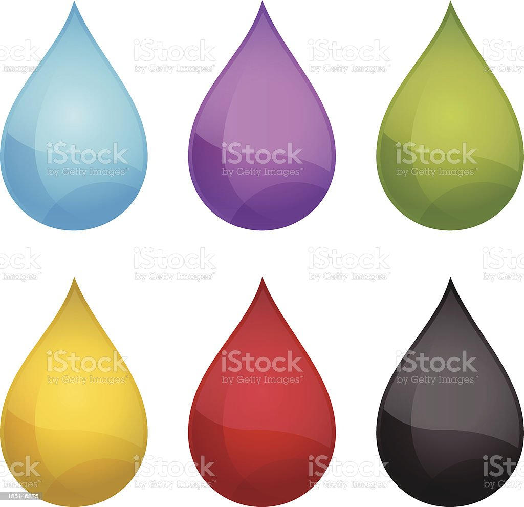 Several different colors of water drops royalty-free stock vector art