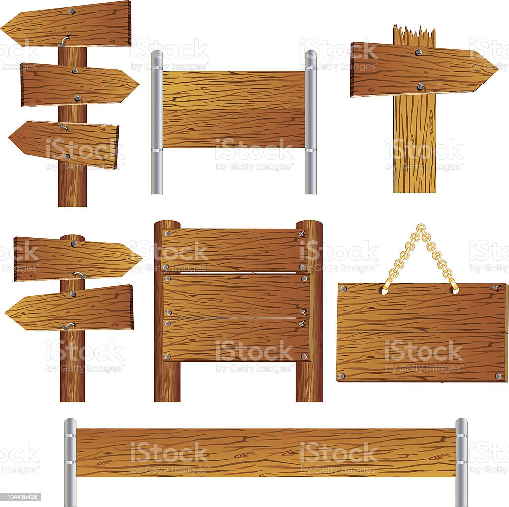 Several different types of wooden signs vector art illustration
