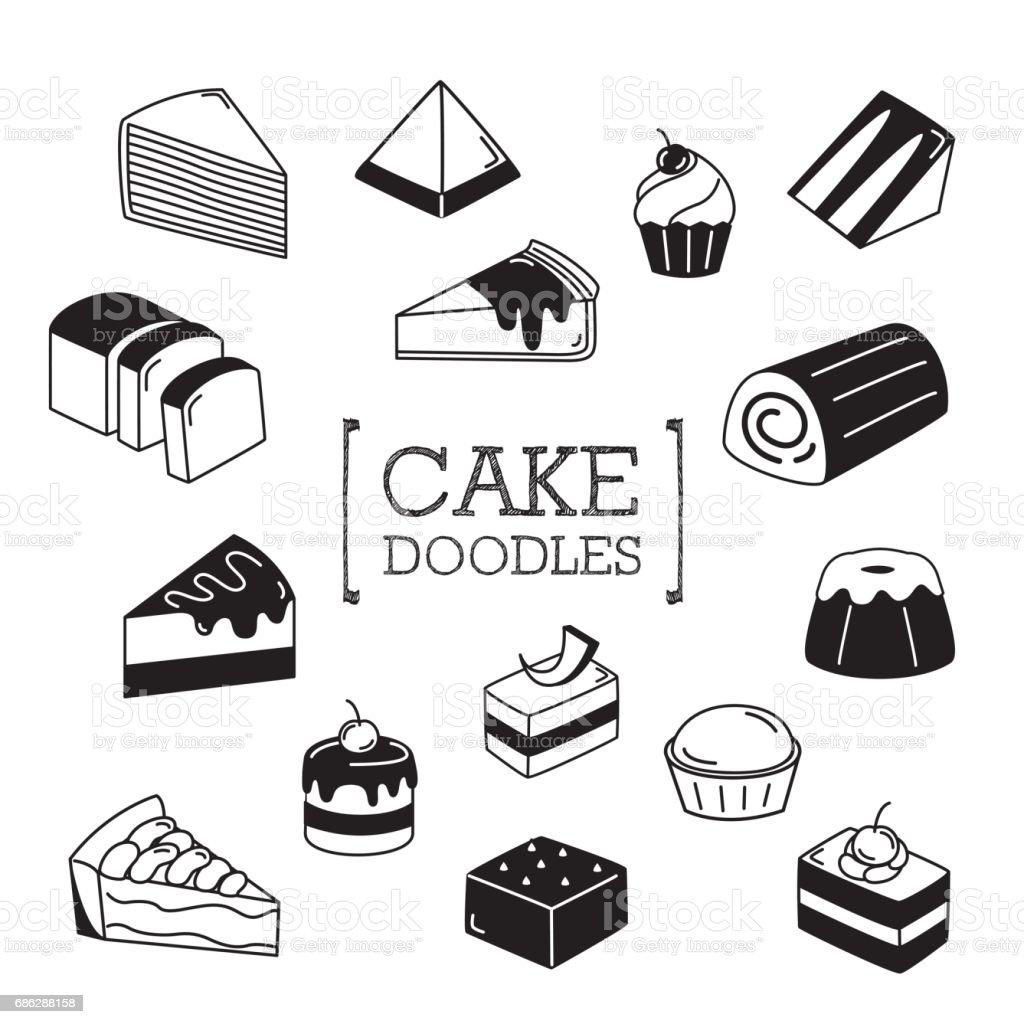 Several Doodles cake. vector art illustration