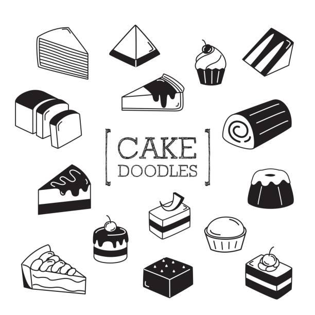 bildbanksillustrationer, clip art samt tecknat material och ikoner med flera doodles tårta. - brownie