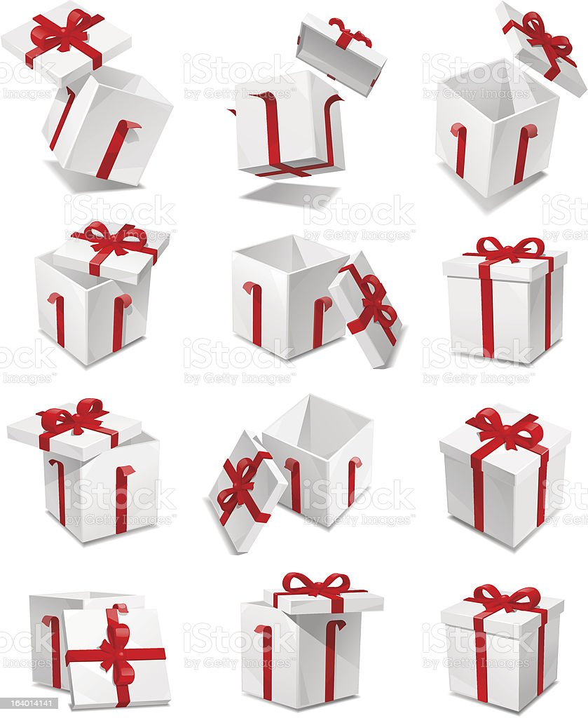 Several gift boxes displayed amongst a white background vector art illustration