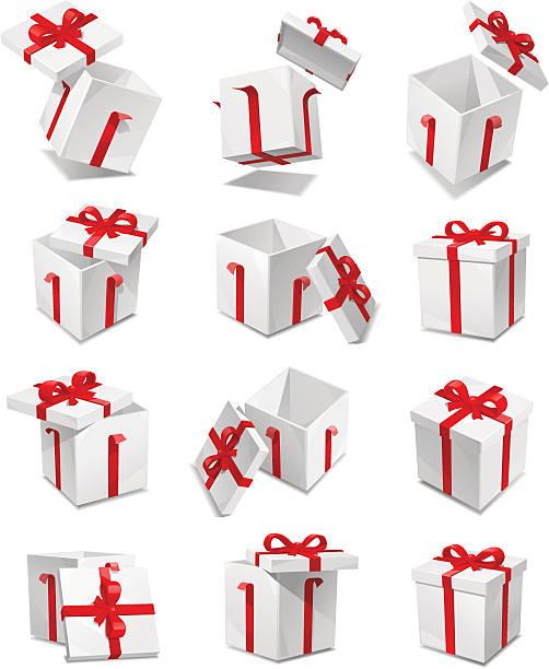 ilustrações de stock, clip art, desenhos animados e ícones de conjunto de caixa de presente - gift box